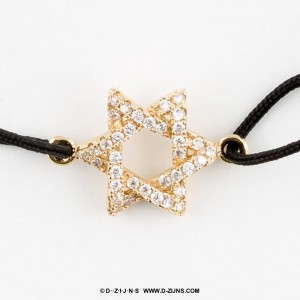 Satijn armband gold plated star with strass