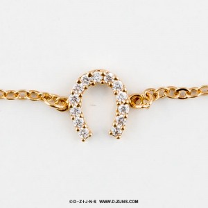Armband gold plated fine with horseshoe strass