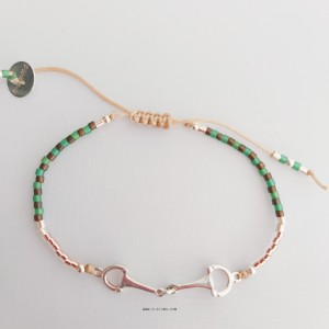 HORSEBIT STERLING SILVER BROWN GREEN